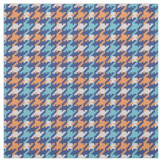 Vintage blue and orange houndstooth plaid pattern fabric