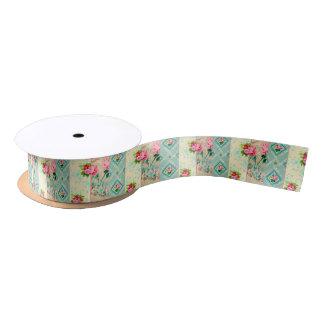 Vintage blue and pink floral wallpaper ribbon satin ribbon