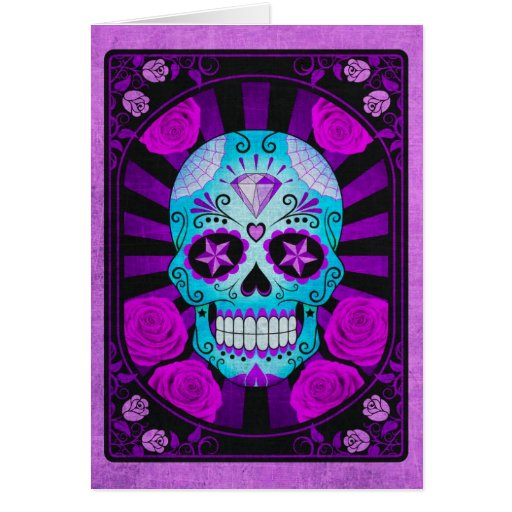 Vintage Blue and Purple Sugar Skull with Roses Card