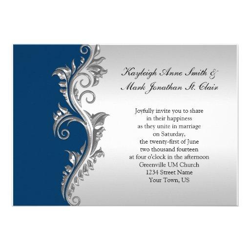 Vintage Blue and Silver Wedding Invitation