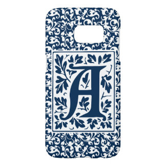 Vintage Blue and White Arts and Crafts Monogram A