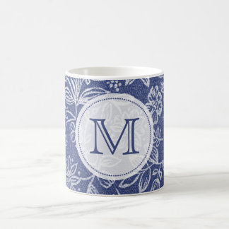 Vintage Blue and White Floral Monogrammed Coffee Mug