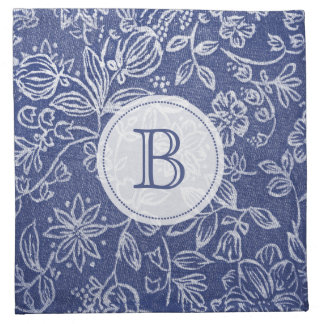 Vintage Blue and White Floral Monogrammed Napkins