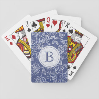 Vintage Blue and White Floral Monogrammed Playing Cards