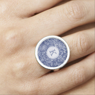 Vintage Blue and White Floral Monogrammed Ring
