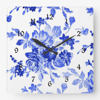 Vintage Blue and White Floral Pattern Square Wall Clock