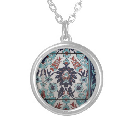 Vintage Blue and White Ottoman tile design Custom Necklace