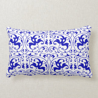 Vintage Blue and White Swirl Lumbar Cushion