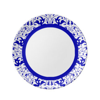 Vintage Blue and White Swirl Porcelain Plate