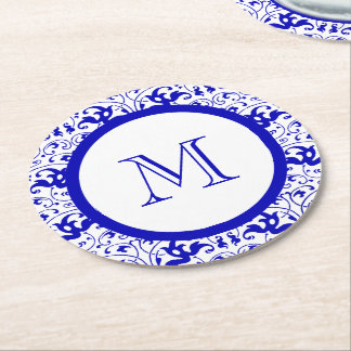 Vintage Blue and White Swirl Round Paper Coaster