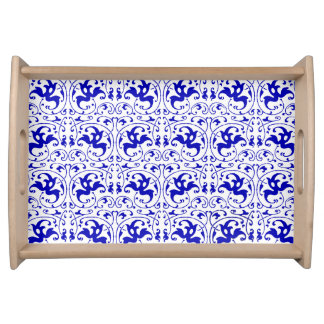Vintage Blue and White Swirl Service Tray