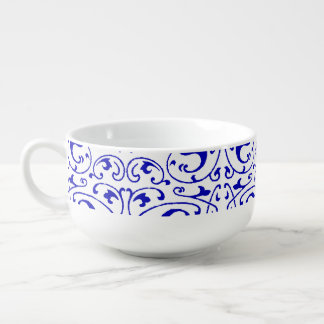 Vintage Blue and White Swirl Soup Mug