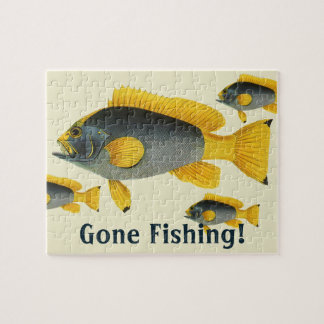 Vintage Blue and Yellow Grouper Fish, Marine Life Jigsaw Puzzle