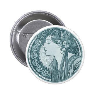Vintage Blue Art Nouveau Pin