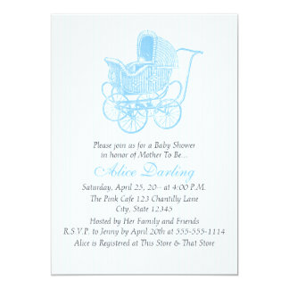 Vintage Blue Baby Carriage Baby Shower 13 Cm X 18 Cm Invitation Card