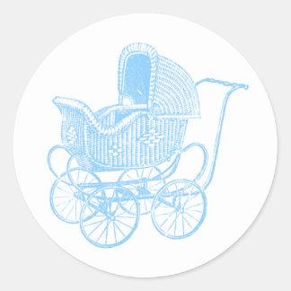 Vintage Blue Baby Carriage Baby Shower Round Sticker