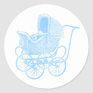 Vintage Blue Baby Carriage Baby Shower Classic Round Sticker