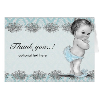 Vintage Blue Baby Shower Thank You Card