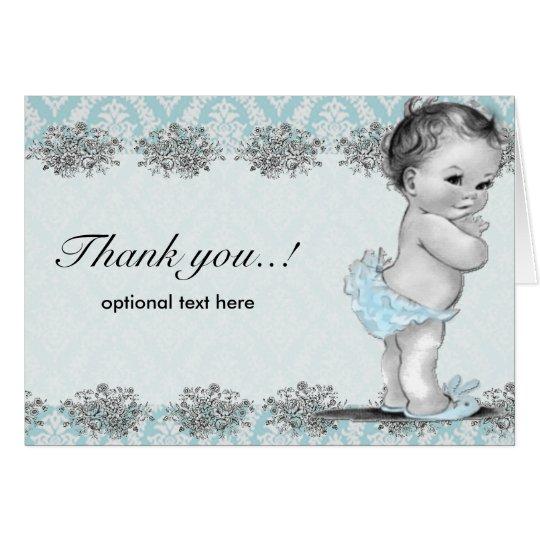 Vintage Baby Shower Thank You Cards: Vintage Blue Baby Shower Thank You Card