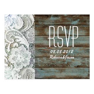 vintage blue barn wood lace country wedding RSVP Postcard