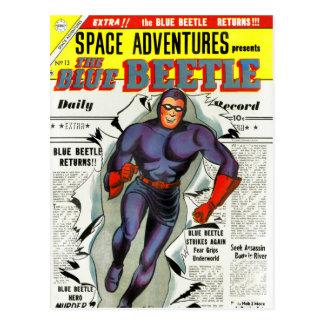 Vintage Blue Beetle Comic Book Superhero Postcard