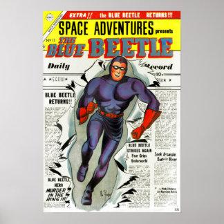 Vintage Blue Beetle Comic Book Superhero Poster
