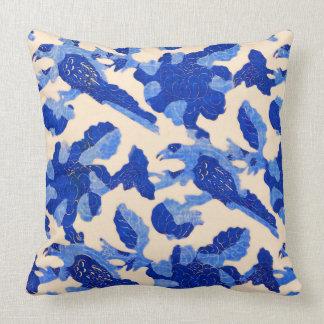 Vintage Blue Bird Pattern Throw Pillow