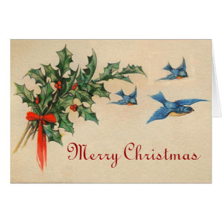 Vintage Blue Birds Christmas Card