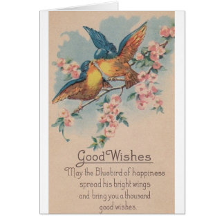 Vintage Blue Birds Good Wishes Greeting Card