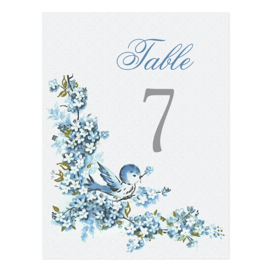 Vintage Blue Birds Winter Wedding Table Number Postcard