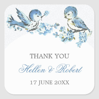 Vintage Blue Birds Winter Wedding Thank You Favor Square Sticker