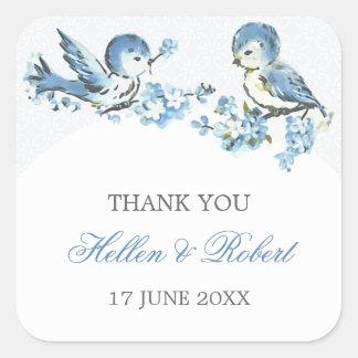 Vintage Blue Birds Winter Wedding Thank You Favor Square Sticker