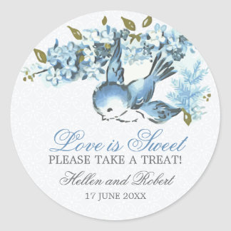 Vintage Blue Birds Winter Wedding Treat Favor Round Sticker