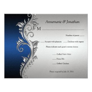 Vintage Blue Black and Silver Floral RSVP Invitation
