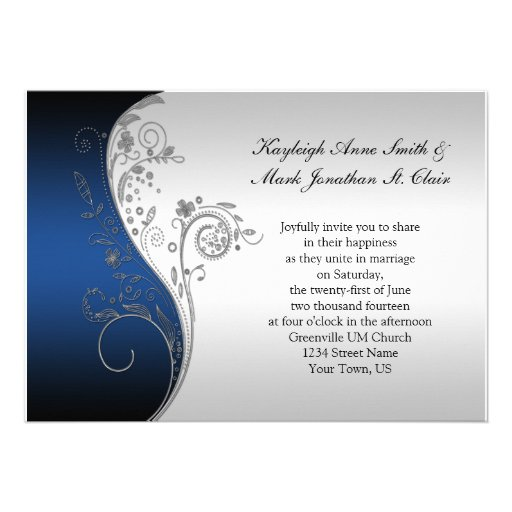 Vintage Blue Black and Silver Wedding Invitation