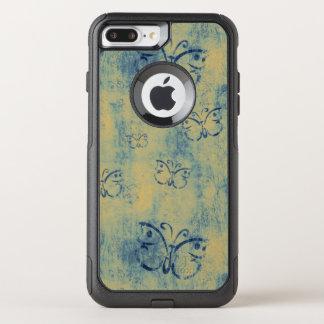 Vintage Blue Butterflies Pattern OtterBox Commuter iPhone 8 Plus/7 Plus Case