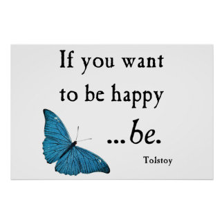 Vintage Blue Butterfly and Tolstoy Happiness Quote Posters