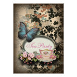 vintage Blue Butterfly floral  bridal tea party Personalised Announcement