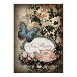vintage Blue Butterfly floral  bridal tea party 13 Cm X 18 Cm Invitation Card