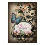 vintage Blue Butterfly floral Damask bridal shower 13 Cm X 18 Cm Invitation Card