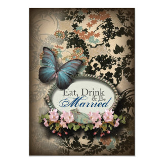 Vintage Blue Butterfly wedding rehearsal dinner 13 Cm X 18 Cm Invitation Card