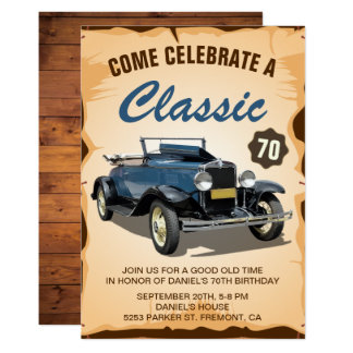 Vintage Blue Car Classic Birthday Invitation