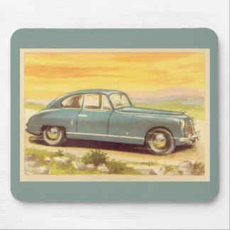 Vintage Blue Car Print Mouse Pad