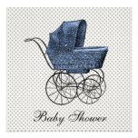 Vintage Blue Carriage Pram Baby Boy Shower Custom Announcement