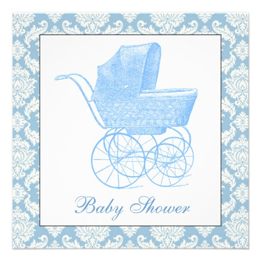 Vintage Blue Carriage Pram Baby Boy Shower Personalized Announcement