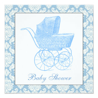 "Vintage Blue Carriage Pram Baby Boy Shower 5.25"" Square Invitation Card"