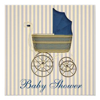 Vintage Blue Carriage Pram Vintage Baby Boy Shower 13 Cm X 13 Cm Square Invitation Card