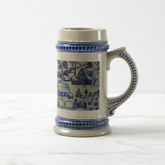 Vintage Blue Christmas Holiday Village Beer Stein