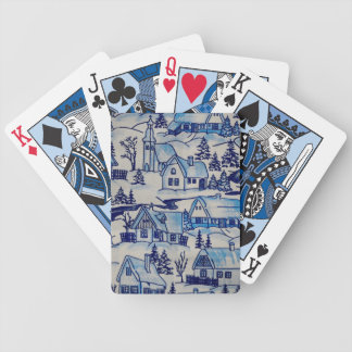Vintage Blue Christmas Holiday Village Bicycle Playing Cards