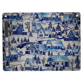 Vintage Blue Christmas Holiday Village Dry Erase Board With Key Ring Holder